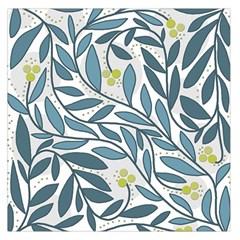 Blue floral design Large Satin Scarf (Square)