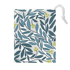 Blue floral design Drawstring Pouches (Extra Large)