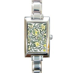 Green floral pattern Rectangle Italian Charm Watch