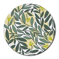 Green floral pattern Round Mousepads