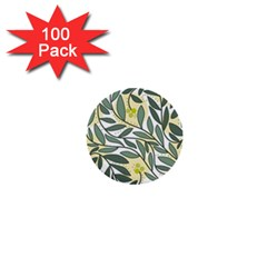 Green floral pattern 1  Mini Buttons (100 pack)