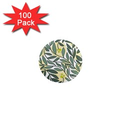 Green floral pattern 1  Mini Magnets (100 pack)
