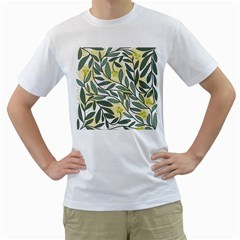 Green floral pattern Men s T-Shirt (White) (Two Sided)