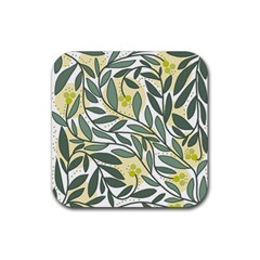 Green floral pattern Rubber Coaster (Square)