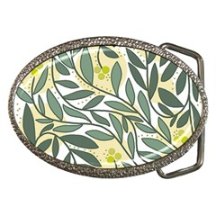 Green floral pattern Belt Buckles