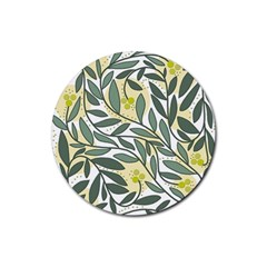 Green floral pattern Rubber Coaster (Round)