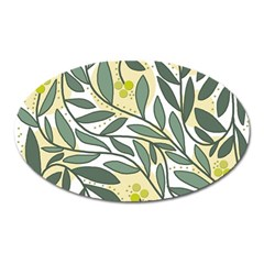 Green floral pattern Oval Magnet