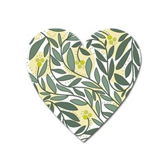 Green floral pattern Heart Magnet