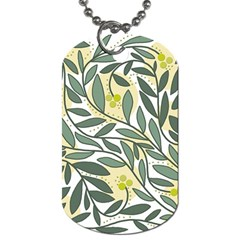Green floral pattern Dog Tag (One Side)