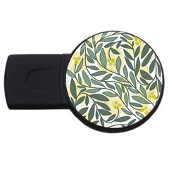 Green floral pattern USB Flash Drive Round (2 GB)
