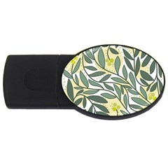 Green floral pattern USB Flash Drive Oval (2 GB)