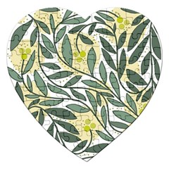 Green floral pattern Jigsaw Puzzle (Heart)