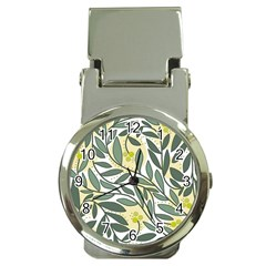 Green floral pattern Money Clip Watches