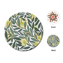 Green floral pattern Playing Cards (Round)