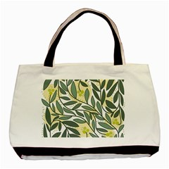 Green floral pattern Basic Tote Bag