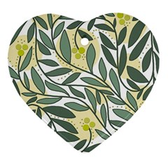 Green floral pattern Heart Ornament (2 Sides)