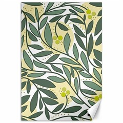 Green floral pattern Canvas 12  x 18
