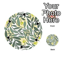 Green floral pattern Playing Cards 54 (Round)
