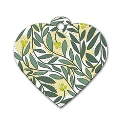 Green Floral Pattern Dog Tag Heart (two Sides)