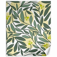 Green floral pattern Canvas 11  x 14