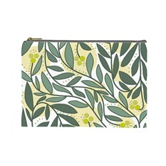 Green floral pattern Cosmetic Bag (Large)