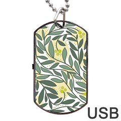 Green floral pattern Dog Tag USB Flash (Two Sides)