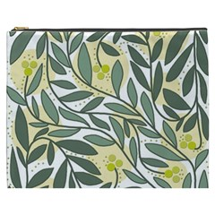 Green floral pattern Cosmetic Bag (XXXL)