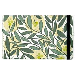 Green floral pattern Apple iPad 3/4 Flip Case