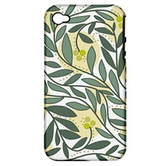 Green floral pattern Apple iPhone 4/4S Hardshell Case (PC+Silicone)