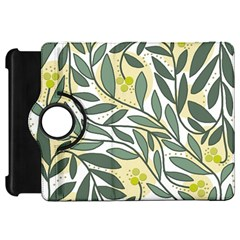 Green floral pattern Kindle Fire HD Flip 360 Case