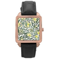 Green floral pattern Rose Gold Leather Watch