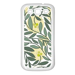 Green floral pattern Samsung Galaxy S3 Back Case (White)
