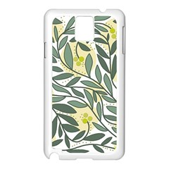 Green floral pattern Samsung Galaxy Note 3 N9005 Case (White)