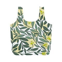 Green floral pattern Full Print Recycle Bags (M)