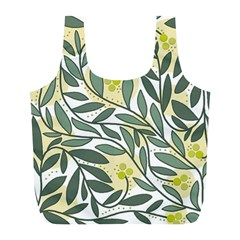 Green floral pattern Full Print Recycle Bags (L)