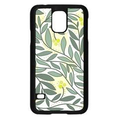 Green floral pattern Samsung Galaxy S5 Case (Black)