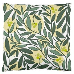 Green floral pattern Large Flano Cushion Case (One Side)