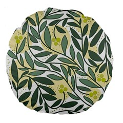 Green floral pattern Large 18  Premium Flano Round Cushions