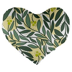 Green floral pattern Large 19  Premium Flano Heart Shape Cushions