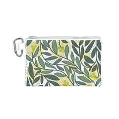 Green floral pattern Canvas Cosmetic Bag (S)