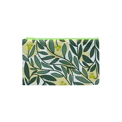 Green floral pattern Cosmetic Bag (XS)