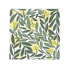 Green floral pattern Small Satin Scarf (Square)