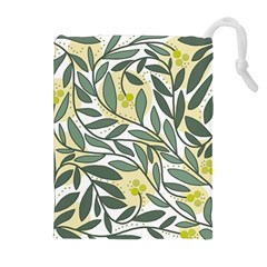 Green floral pattern Drawstring Pouches (Extra Large)