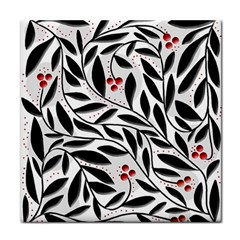 Red, black and white elegant pattern Tile Coasters