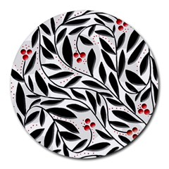 Red, black and white elegant pattern Round Mousepads