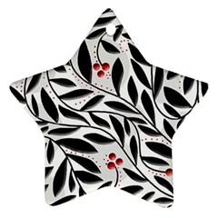 Red, black and white elegant pattern Ornament (Star)