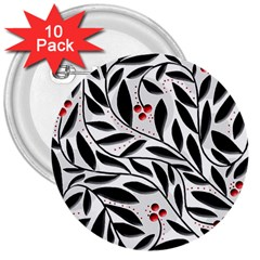 Red, black and white elegant pattern 3  Buttons (10 pack)