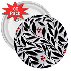 Red, black and white elegant pattern 3  Buttons (100 pack)