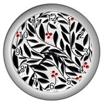 Red, black and white elegant pattern Wall Clocks (Silver)  Front
