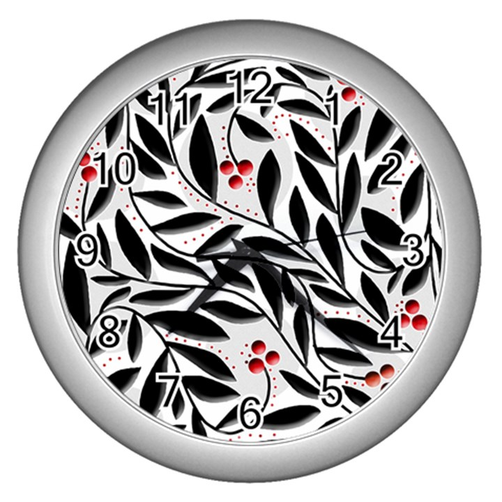 Red, black and white elegant pattern Wall Clocks (Silver)
